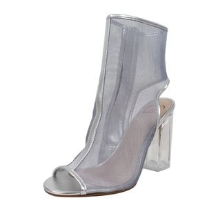 Shoes - Silver Mesh Open Toe Chunky Clear Heel Ankle Boots